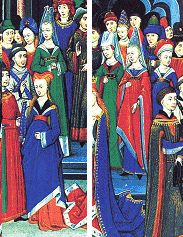 """Variedad extrema de ancho de las mangas. Imagen de """"Le morte d'Arthur"""" finales de siglo XV (The wedding scene)."""