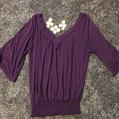 Purple vneck flowy blouse Used twice, no damage, cinches at the bottom, very flowy and comfy, open to reasonable offers, no trades Macys Tops