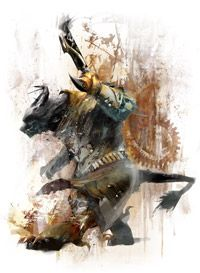 There are 8 different Guild Wars 2 professions. The one pictured is the Engineer. They are the masters of the mechanical. They have auto turrets they can lay down that auto lock the enemy, grenades they can throw, guns with nets, supportable drops and turrets that heal and apply buffs, and mines to surprise the enemy trying to rush you. The Engineer is a profession that can be diverse in it's support, ranged, and offensive specs.