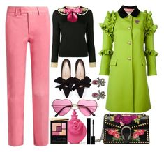 """""""Gucci Flounce Coat"""" by pulseofthematter ❤ liked on Polyvore featuring Gucci, Valentino and Yves Saint Laurent"""