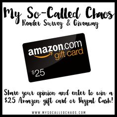 Reader Survey   $25 Amazon Gift Card Giveaway