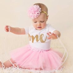 First Birthday Outfit Girl Pink and Gold First by PinkaliciousGirl
