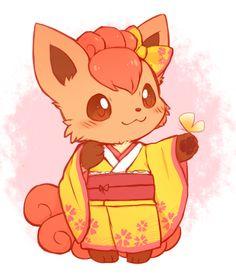 So cute!! Vulpix in a kimono!