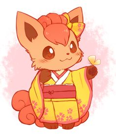 So cute!! Vulpix in a kimono! - Vulpix is my 2nd fav pokemon after Eevee! Soooooo cute! And vastly underrated in my opinion! <3