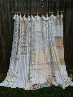 Shower Curtain Shabby Chic Vintage Crochet Vintage Embroidery