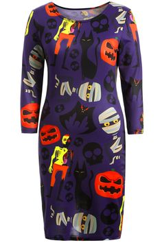 $17.17 Skull Pumpkin Print Halloween Bodycon Dress