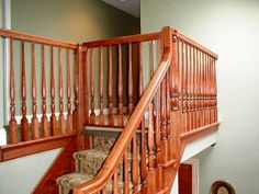 This safety gate blends in beautifully. Staircase Gate, Stair Banister, Stair Gate, Wood Railing, Stairway, Staircases, Safety Gates For Stairs, Baby Gate For Stairs, Child Safety Gates