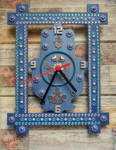 Hamsa Hand Wall Clock Unique Blue Hamsa Clock Unique Colck   Etsy Hamsa Art, Good Luck Symbols, Jewish Gifts, Unique Wall Clocks, Good Luck To You, Wooden Clock, Home Wall Decor, Special Gifts, Handmade