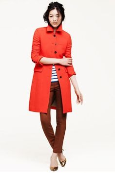 Red fall jacket/coat over black & white horizontal stripe shirt