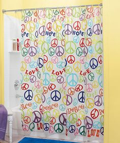 Lovely Teen Retro Peace Sign Bathroom Bright Colorful Shower Curtain