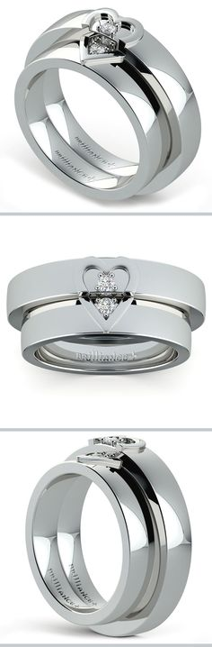 Matching his and hers 5 mm wedding bands in platinum feature a split heart puzzle detail and two accent diamonds for one-sixteenth total weight.