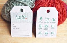 DIY Knitting Tag Gift Tag Knitting Care by DesireLineStudio, $2.99