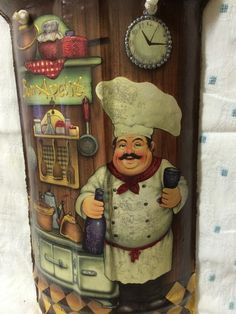 Chef Kitchen Decor, Kitchen Art, Handmade Crafts, Diy And Crafts, Arts And Crafts, Clay Roof Tiles, Decorated Flower Pots, Pooja Rooms, Mural Art