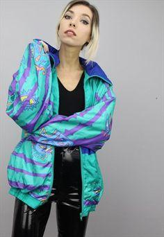 770fdcee00 Vintage+80s 90s+Oversized+Patterned+Shell+Windbreaker+Jacket Shell