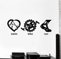 Vinyl Wall Decal Triathlon Swim Bike Run Sports Art Decor Stickers Mural (ig4946)