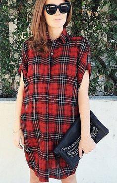 An Oversized Plaid Shirt As a Button-Down Dress