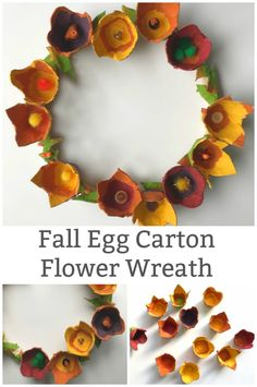 Celebrate the arrival fall with a beautiful egg carton flower wreath. Yep, this gorgeous wreath is made from recycled paper egg cartons. Simple step by step instructions. Easy Fall Crafts, Fall Crafts For Kids, Thanksgiving Crafts, Diy And Crafts, Teen Crafts, Kids Diy, Decor Crafts, Nursing Home Crafts, Autumn Activities For Kids
