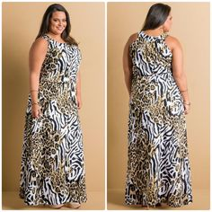 Vestido longo animal print Plus Size
