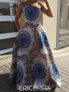 Print Sleeveless Oblique Collar One-Shoulder Women's Maxi Dress Ankara Dress Designs, Ankara Dress Styles, African Wear Dresses, African Attire, African Print Fashion, Fashion Prints, Moda Afro, Beautiful Maxi Dresses, Amazing Dresses