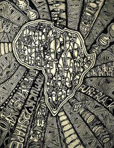 Laolu Senbanjo (Nigeria): Africa in coal. Laolu Senbanjo is the creator of the 'Afromysterics' style of Art