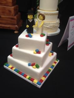Lovely lego wedding cake with bride and groom cake topper.