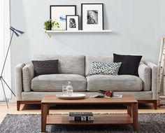 Scandinavian Designs - The Gabriel sofa shows off modern angles with the full American walnut base, slender track arms and clean two-cushion seat design. The interior bolsters and deep seat add comfort and relaxed style to this profile.