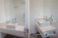 Banheiro com cuba de sobrepor Deca. Branco, clean e super elegante. Residência Vilas de São Francisco - Marisa Haddad - Arquitetura e Construção