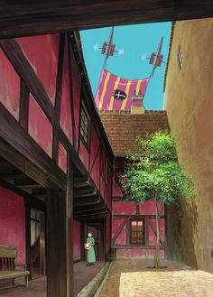 Sophie down the corridors of her house. -- Studio Ghibli movies, Japanese films, Howl's Moving Castle, moments, scenes, screenshots, characters