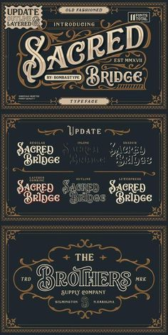 --- Sacred Bridge is an old fashioned typeface ,come up with clean and letterpress style, regular and italic with extra T Shirt Logo Design, Graphic Design Fonts, Vintage Logo Design, Vintage Fonts, Vintage Typography, Vector Design, Design Design, Typography Alphabet, Typography Fonts