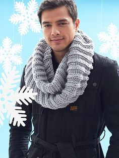 Ravelry: Big Rib Cowl pattern by Bernat Design Studio Knitting Designs, Knitting Patterns Free, Knit Patterns, Free Knitting, Free Pattern, Mens Infinity Scarf, Men Scarf, Crochet Scarves, Crochet Hats