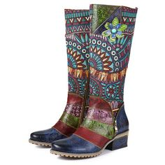 gracosy Handmade Leather Knee High Tall Boots for Women, Winter Print Side Zipper Bohemian Wide Calf Riding Ladies Warm Boots