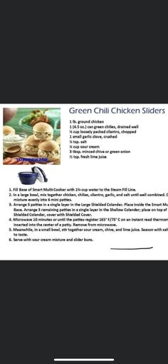 Canned Green Chilies, Green Onions, Green Chili Chicken, Chicken Sliders, Multicooker, Ground Chicken, Fresh Lime Juice, Large Bowl, How To Cook Chicken