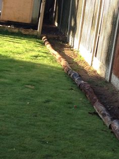 Home Made Log Borders Rustic And Keeps The Bark In Off Grass