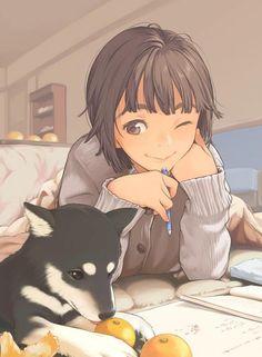 ✮ ANIME ART ✮ animal. . .dog. . .puppy. . .anime girl with animal. . .studying. . .books. . .oranges. . .kotatsu. . .short hair. . .smile. . .cute. . .kawaii