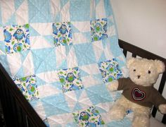 Owls - Handmade baby quilts for boys