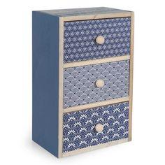 Boîte 3 tiroirs en bois bleu H 25 cm CAPRI