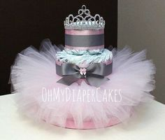 3 Tier Princess Diaper Cake, 2 Styles, Tutu Diaper Cake, Tiara Diaper Cake, Diaper Cake for Girl, Girl Baby Shower, Princess Baby Shower