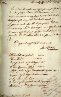 Letter from James Cook, 176 Cook's first voyage of discovery Famous Historical Figures, Historical Artifacts, Early Explorers, Explorers Unit, Captain James Cook, History Timeline, People Of Interest, National Archives, British History