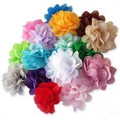 Block Colours Pair of Glitter Carved Flower Bobby Kirby Pin Clips Grips Slides
