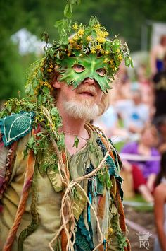 The 'Spoutwood May Day Fairy Festival' In Glen Rock PA, is the longest running Fairy festival in the United States. Read article on Painting Queen blog page. This 'Green Man' is the person behind this amazing gathering!
