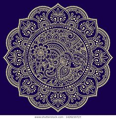 Color circular pattern in form of mandala with flower for decoration or print. Decorative ornament in ethnic oriental style. Gold design on blue background. Henna Mandala, Flower Mandala, Mandala Tattoo, Mandala Art, Circular Pattern, Mandala Pattern, Magic Design, New Media Art, Beautiful Rangoli Designs