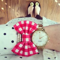 J.Crew polka dotted blouse, Kate spade watch, and Tory Burch flats