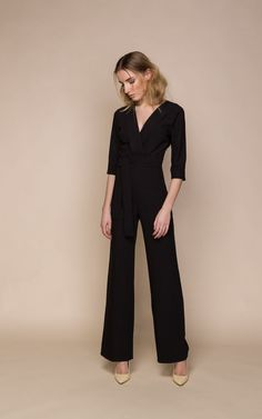 Black Trench Jumpsuit With Plunging Neckline - SilkFred
