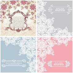 Free Floral ornament vintage cards vector