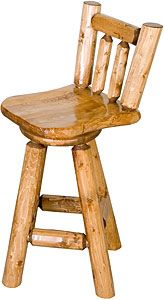 """These Pine Log bar stools are specifically engineered to be the most comfortable log bar stool you've ever sat in!  A natural sitting position is achieved with a contoured saddle seat angled 3-degrees forward, and a curved back rest with a 10-degree lean.  Even the spindles are contoured, so they don't impact your back or spine.  The seat also swivels and is available in 24"""" and 30"""" heights below, as well as your choice of finish."""