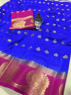 Blue Wedding Wear, Festival, Partywear Soft Kanjivaram Silk saree With Blouse Piece Kanjivaram Sarees, Kanchipuram Saree, Lehenga Saree, Net Saree, Soft Silk Sarees, Cotton Saree, Cotton Silk, Saree Blouse Patterns, Ethnic Wear Designer