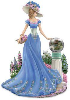 Thomas Kinkade Garden of Prayer Victorian Lady Figurine Thomas Kinkade Art, Thomas Kincaid, Art Thomas, Art Carte, Globe Art, Moda Vintage, Women Figure, Fair Lady, Victorian Women