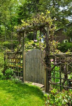 Rustic fence and arbor for the south side of the house