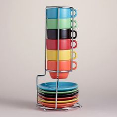 One of my favorite discoveries at WorldMarket.com: Multicolor Stacking Mugs or Espresso Cups Sets of 6