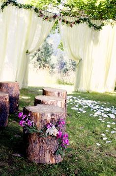 Rustic wood-stump for either seating or side table.